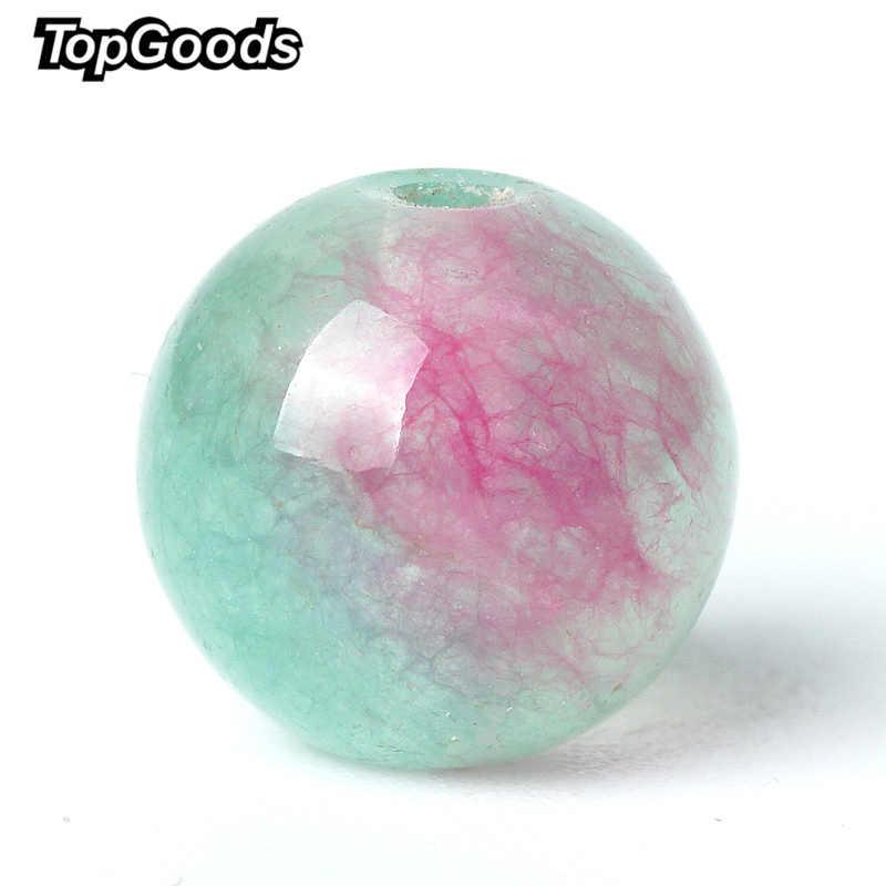 TopGoods พลอยแท้สีเขียวสีแดง Jasper หลวม Rosary ลูกปัดหิน 6/8/10 มม. - สีหยกหินสำหรับสร้อยข้อมือ
