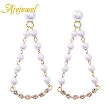 Ajojewel Simulated Pearl Water Drop Earrings Elegant Bling Rhinestone Women Earing Fashion Jewelry