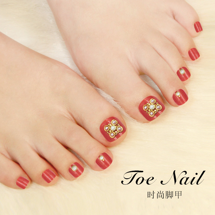 Health Beauty Nail Toe Art: 2kinds 24pcs Fashion Long Fake Toe Nails Tips Pearl Toe