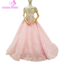 2018 New Arrival Pink Tulle Sleeveless Boat Neck Evening Dress Floor length Off The Shoulder Vintage Prom Dresses Party Dresses