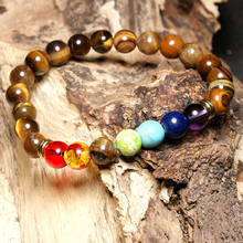 HOBBORN Trendy Natural Stone Women Men Bracelet Handmade Elasticity Tiger Eye Lava Chakra Unisex Jewelry Pulsera