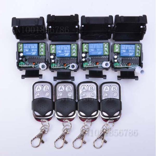 Free shipping 12V 1ch wireless remote control switch system 4 transmitter & 4 receiver relay smart house z-wave new dc12v 1ch rf wireless remote control switch system 4pcs transmitter 2pcs receiver teleswitch relay smart house z wave