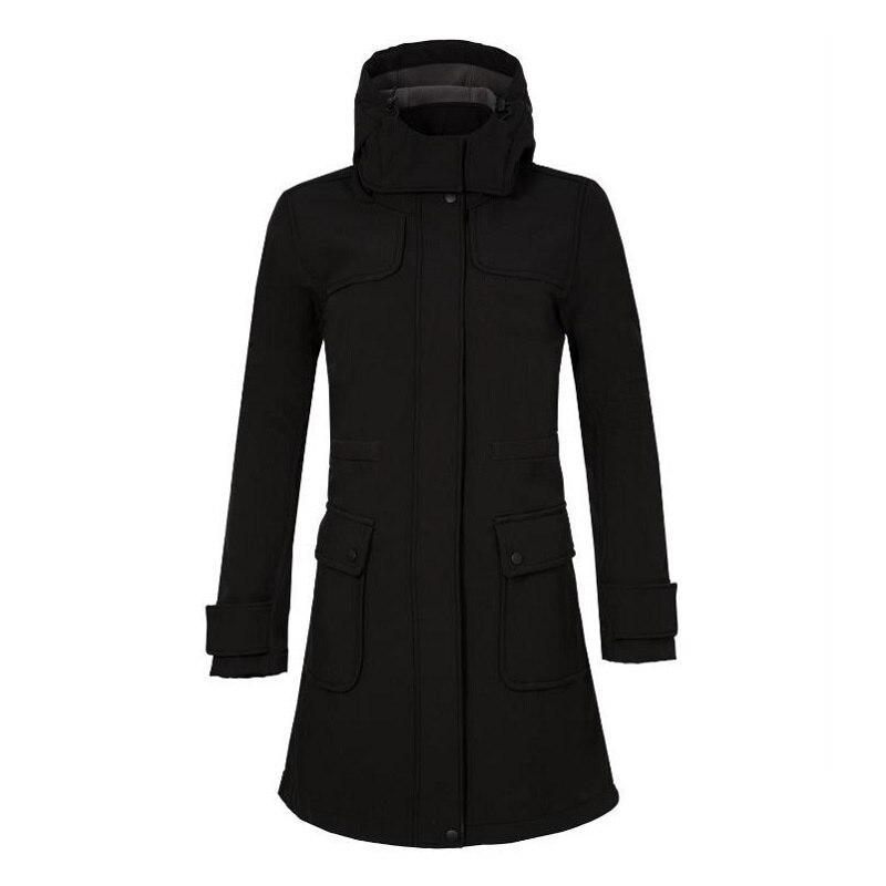 Hiver Softshell veste femmes moyenne longue randonnée chaude imperméable coupe-vent vestes de plein air Camping femmes Sport manteaux