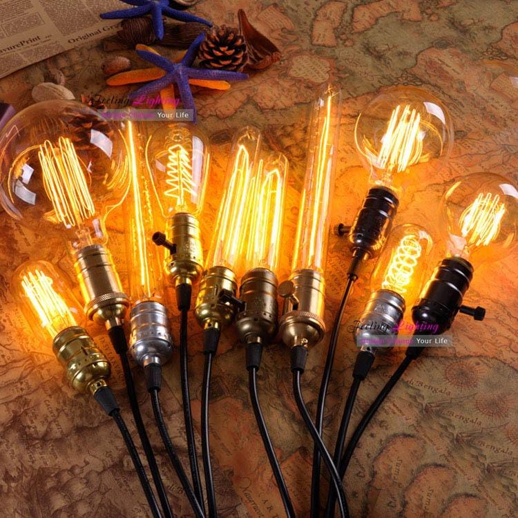 retro led incandescent vintage light bulb st64 g80 diy handmade edison bulb fixtures e27 110v. Black Bedroom Furniture Sets. Home Design Ideas