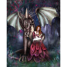 Girl and dragon diamond Embroidery diy painting mosaic diamant 3d cross stitch pictures H218