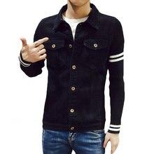 Autumn Winter Black Men's Denim Jacket Patchwork Knitted Sleeve Striped Mens Jeans Jackets Pockets Fashion Slim Fit Male Coats
