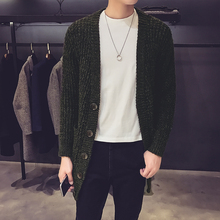 Men Fashion Causal Long Cardigan Sweater Knitwear Male Autumn New Long Sleeve Sweater Coat