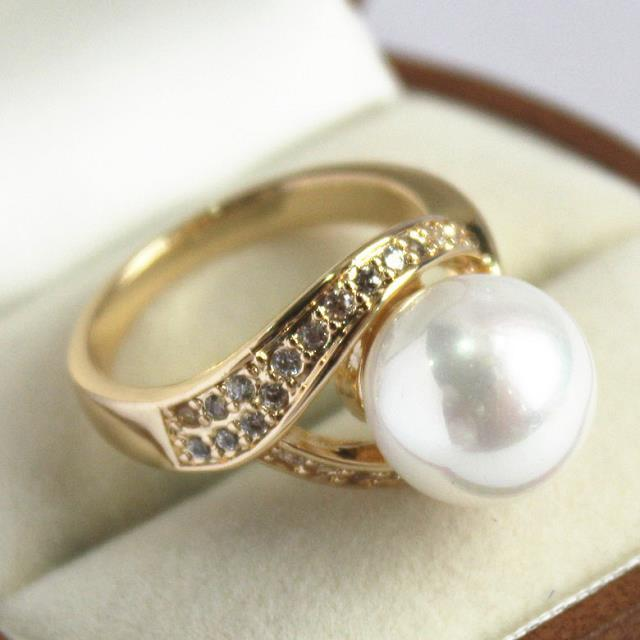 Noble lady cristal 12 mm blanc shell pearl ring tassel indian jewelry bohemian adjustable wedding ring( # 7 8 9 10 )