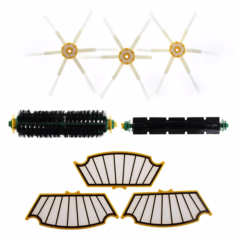 Filters Brush Parts Kit For iRobot Roomba 500 510 530 535 540 570 560 550 Series 3 filters 3 side brush 3 armed vacuum cleaner accessory kit for irobot roomba 500 series 530 540 550 560 570 580 610
