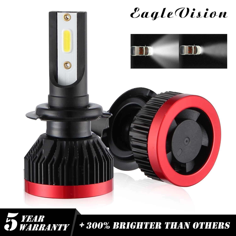 EV7 2PCS Mini EAGLEVISION 270000LM 1800W H7 LED Headlight Bulbs  DOB Chip 6000K White auto bulb running lights powerful beam