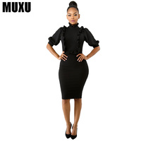 MUXU 2018 new European Fashion Sexy dress women vestidos clothes jurken black ladies dresses red streetwear womens clothing jurk