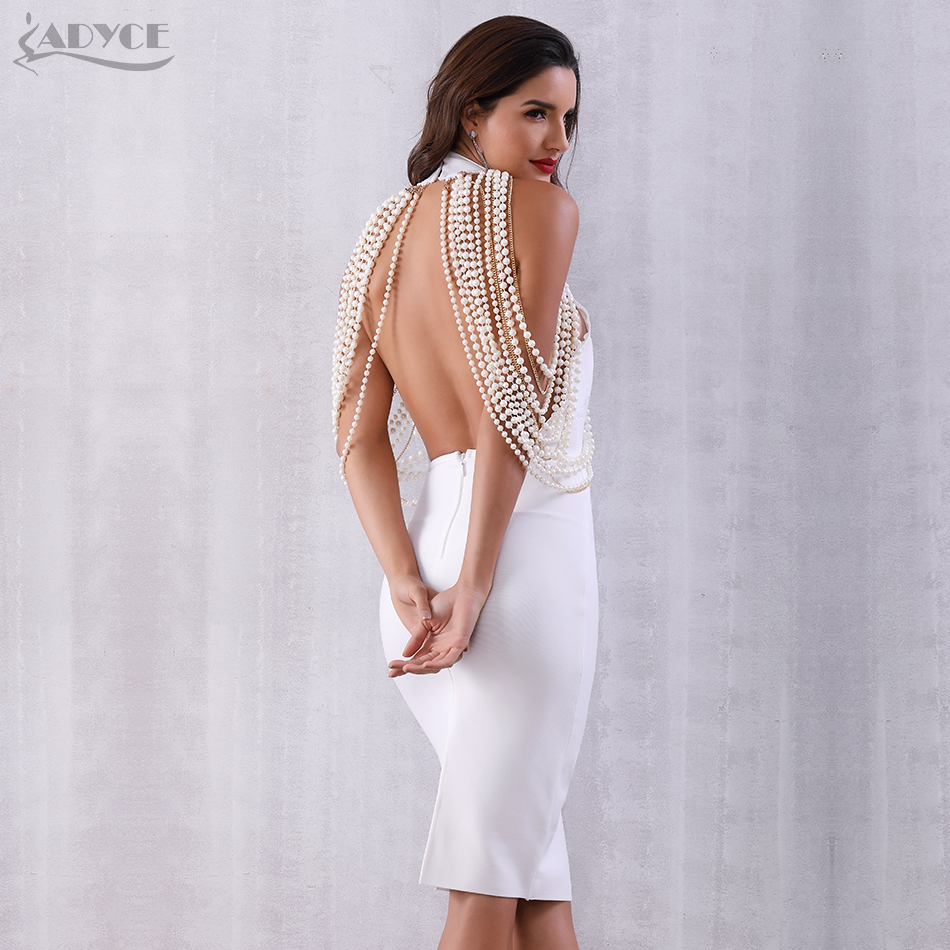 Adyce Luxury Pearls Chain Midi Club Dress H5254