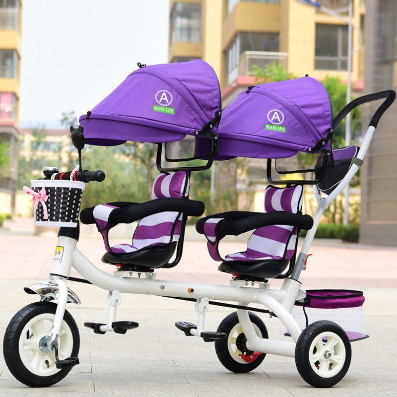 Poussette Tricycle bébé 3 roues Double poussette pour enfants jumeaux garde-corps siège bébé enfant en bas âge vélo voiture Tricycle enfant landau