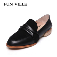 FUN VILLE Spring Women Flats Shoes Genuine Leather Casual Shoes Flat With Dress Shoes Pointed Toe