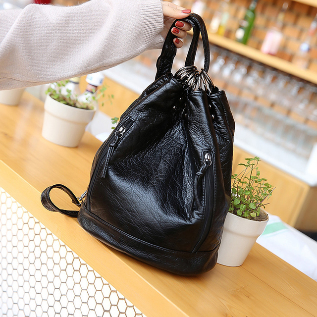 2018 Women Famous Brand Soft Leather Backpack Tote Bags Black Mini School For