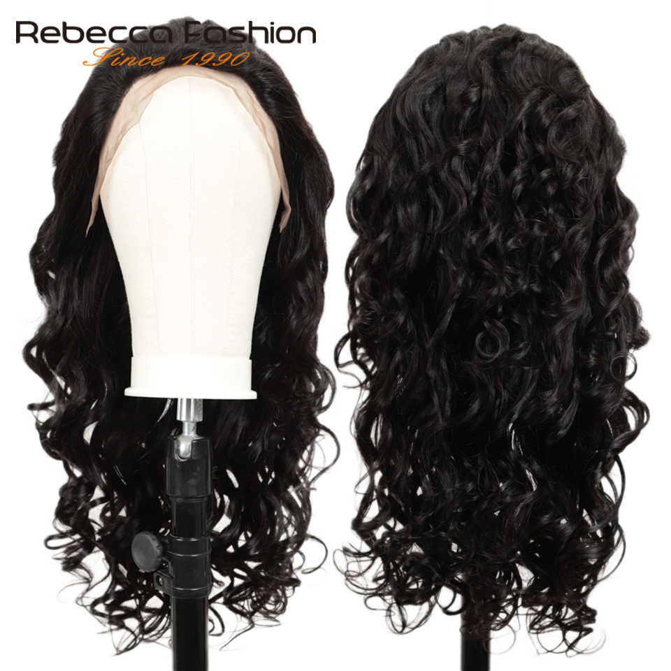 Rebeca 150% Peluca de onda suelta brasileña Remy pelo Pre desplumado 13x4 pelucas de pelo humano frente de encaje con bebé pelo de 8 a 28 pulgadas