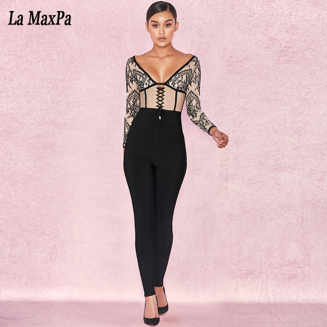 d3a0d1ef9fad 2017 New autumn women jumpsuits long sleeve deep v neck jumpsuit sexy  bodycon print lace evening party black jumpsuits vestidos
