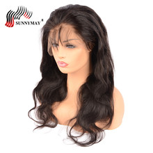 Sunnymay Body Wave Full Lace Human Hair Wigs Malaysian Virgin Hair Bleached Knots Natural Hair Line With Baby Hair
