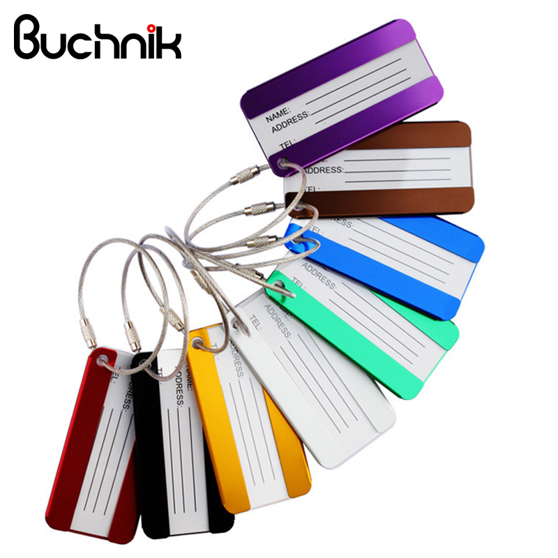 BUCHNIK Aluminum alloy Luggage Tags Metal Travel Baggage Suitcase Trolley case Bag Name Address ID Label Accessories Supplies wulekue rectangle aluminium alloy luggage tags travel accessories baggage name tags suitcase address label holder