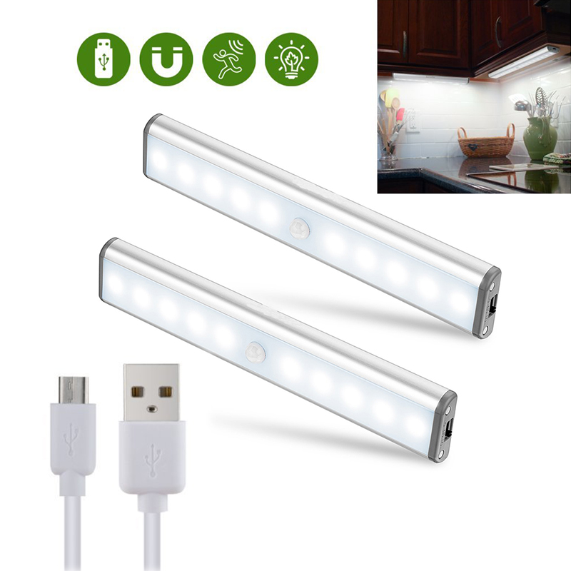 Motion Sensor Light Cabinet Lights 2Pack 10 LED USB Rechargeable Cabinet Light Wireless Motion Activated Closet