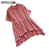 Mferlier Summer Short Sleeve Chic Plaid Ladies Tops Peter Pan Collar Pleated Front Irregular Long Back