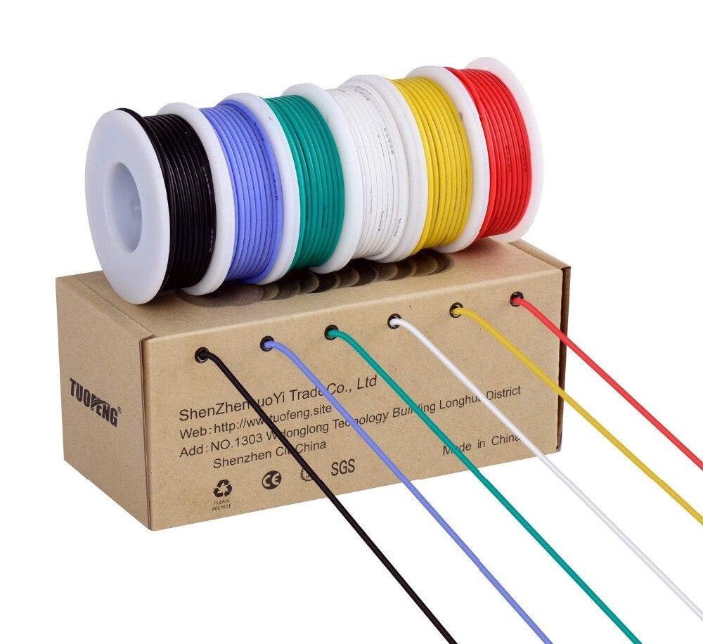 TUOFENG 18AWG Fio Elétrico, kit 18 Hook up Wire Bitola do Fio Flexível De Silicone (6 Colorido Diferente 4 metro carretéis) 600 v
