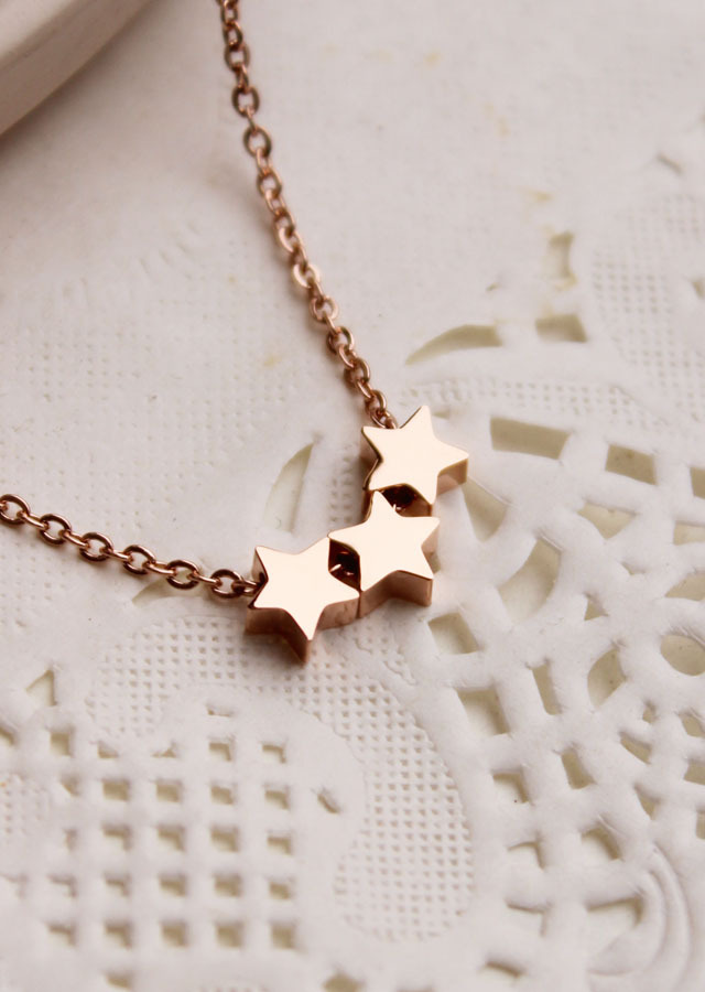 2015 Summer Style Lucky Stars Necklace For Woman Titanium Steel Rose Gold Color Fashion Jewelry Gift Never Fade Free Shipping