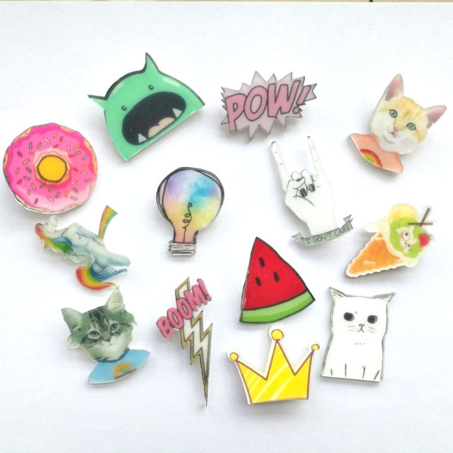 1 PCS Kawaii Icons on The Pin Acrylic Badges Cartoon Icons on The Backpack Badges for Clothing Cartoon Badge