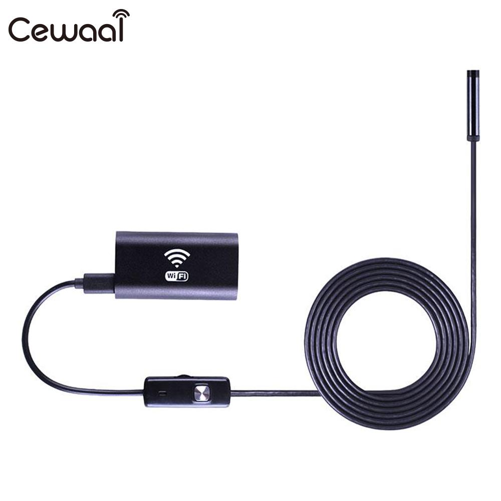 Cewaal 2.0MP WIFI Waterproof Endoscope 1/1.5/2.0/3.5/5.0/10m Soft Hard Cable 8 LED Pipe Borescope PC Android IOS Mini Camcorder