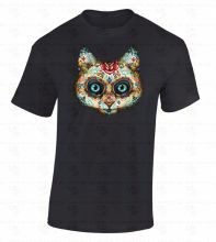 Teenage T Shirt Premium O-Neck Short-Sleeve Sugar Skull Cat Day Of Dead Kitten Face Dia De Los Muertos Animal Tee Shirts For Men