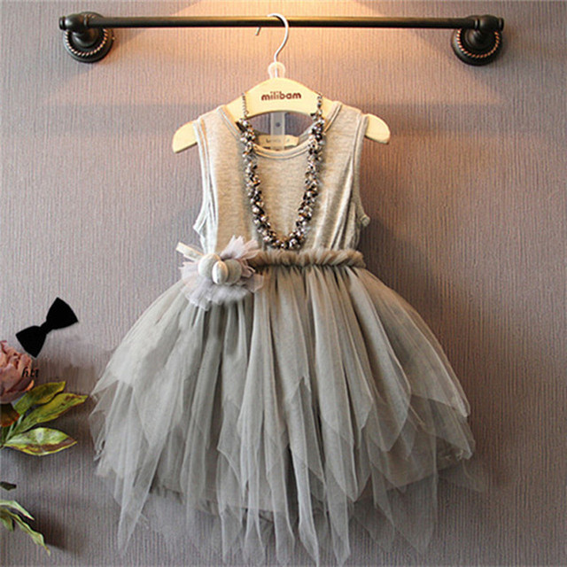 Новый летний стиль ну вечеринку малыш платья девочка платье принцессы неравномерное сетки одежда мяч костюм твердые лоскутная с цветком