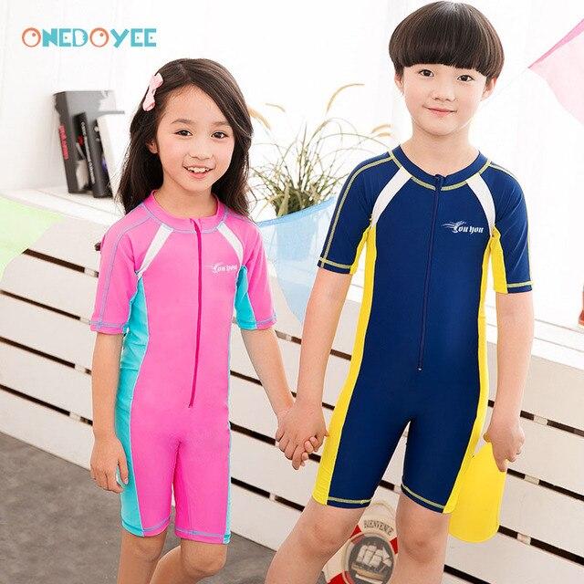 cb4bc54e58 Aliexpress.com : Buy ONEDOYEE Children Swimwear One Piece Boys Girls Swimsuits  Kids Bathing Suits Children Beach Wear Diving Swimming Suit Beach Surf from  ...