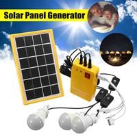 Solar Power Panel Generator Kit 5V USB Charger Home System with 3 LED Bulbs Light Indoor/Outdoor Lighting Over Discharge Protect