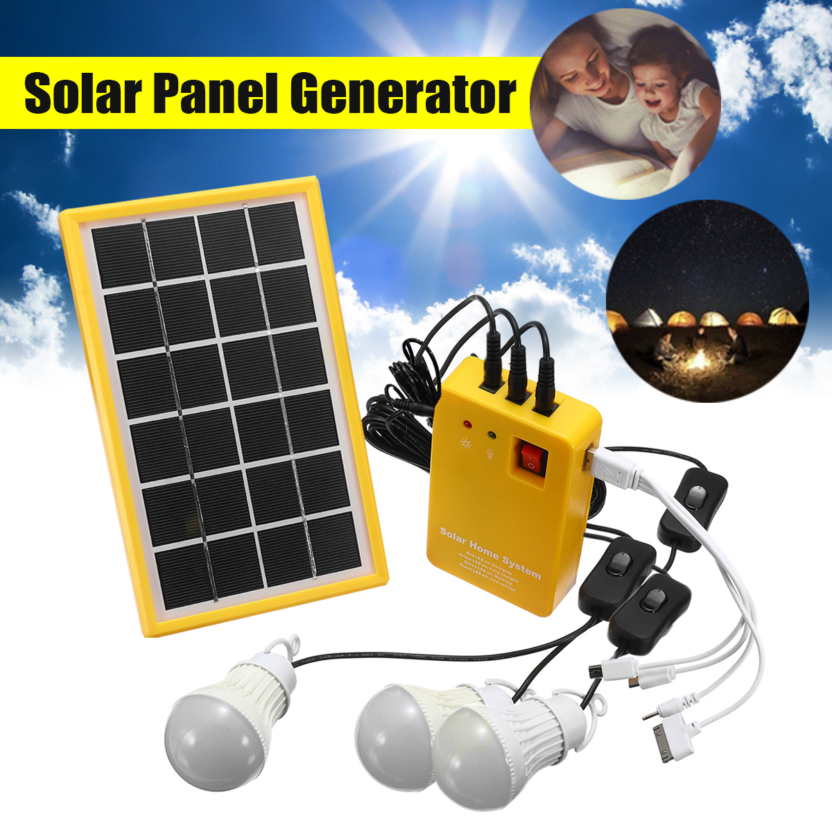 Solar Power Panel Generator Kit 5V USB Charger Home System with 3 LED Bulbs Light Indoor/Outdoor Lighting Over Discharge ProtectSolar Power Panel Generator Kit 5V USB Charger Home System with 3 LED Bulbs Light Indoor/Outdoor Lighting Over Discharge Protect