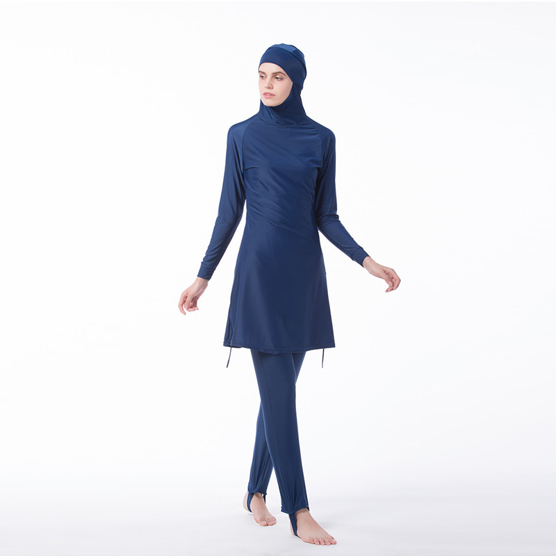 Manoswe Middle East Islamic Muslim swimwear Traditional Hijab Full Cover Costume Fashion Solid Color Burkinis Swimsuit For Lady