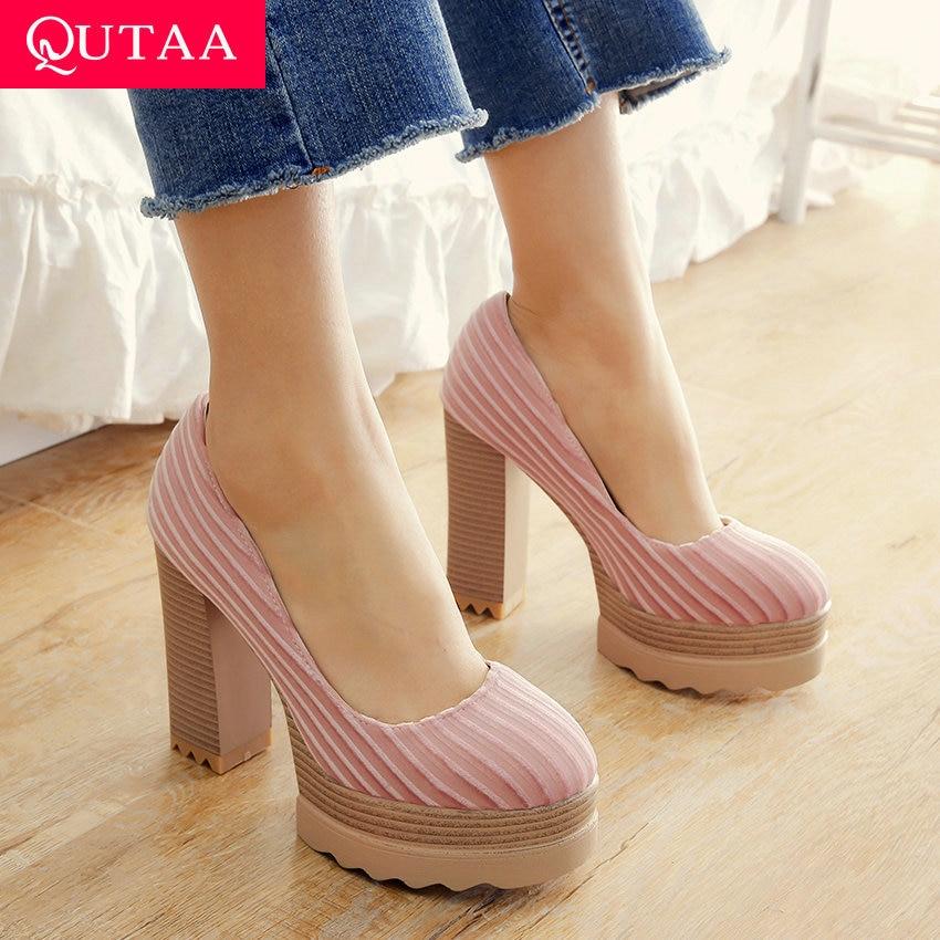QUTAA 2020 Women Shoes Slip On Women Pumps All Match Platform Spring/autumn Round Toe Pointed Toe Ladies Pumps Size 34-42