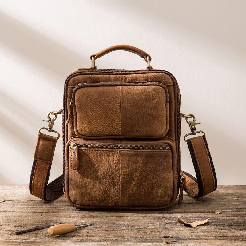 2018 New Brown Men s Shoulder Bag Genuine Leather Handle Messenger Bag Small Vintage Handmade Crazy