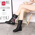 2017 Spring Phoenix Denim Women Embroidered Lace up Cloth Mid Calf Boot Platform Winter Shoes Casual Canvas Femal Classic Soft