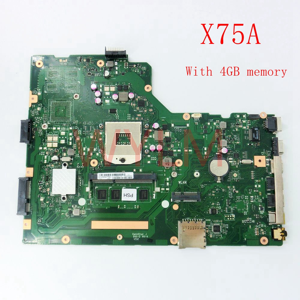 free shipping X75A 4G RAM mainboard For ASUS R704V X75VD X75A X75A1 X75V X75VB X75VC motherboard HM76 REV2.0 60-NDOMB1501-B06 free shipping laptop motherboard for x75vc motherboard x75vb main board 60nb0240 mb1020 n14m ge s a2