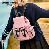 EMINI HOUSE Genuine Leather Backpack Women Bag Portable School Backpack Detachable Travel Backpack Functional Roomy Bag