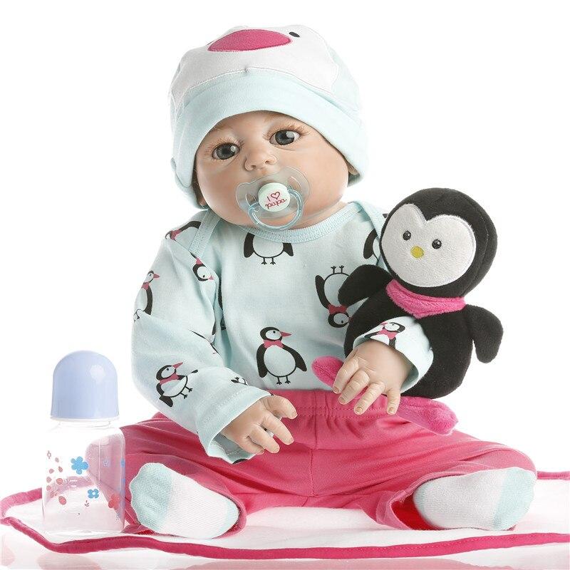 SanyDoll 22 pouce 55 cm Silicone reborn poupées, Mode ensemble mignon poupée cadeau de vacances