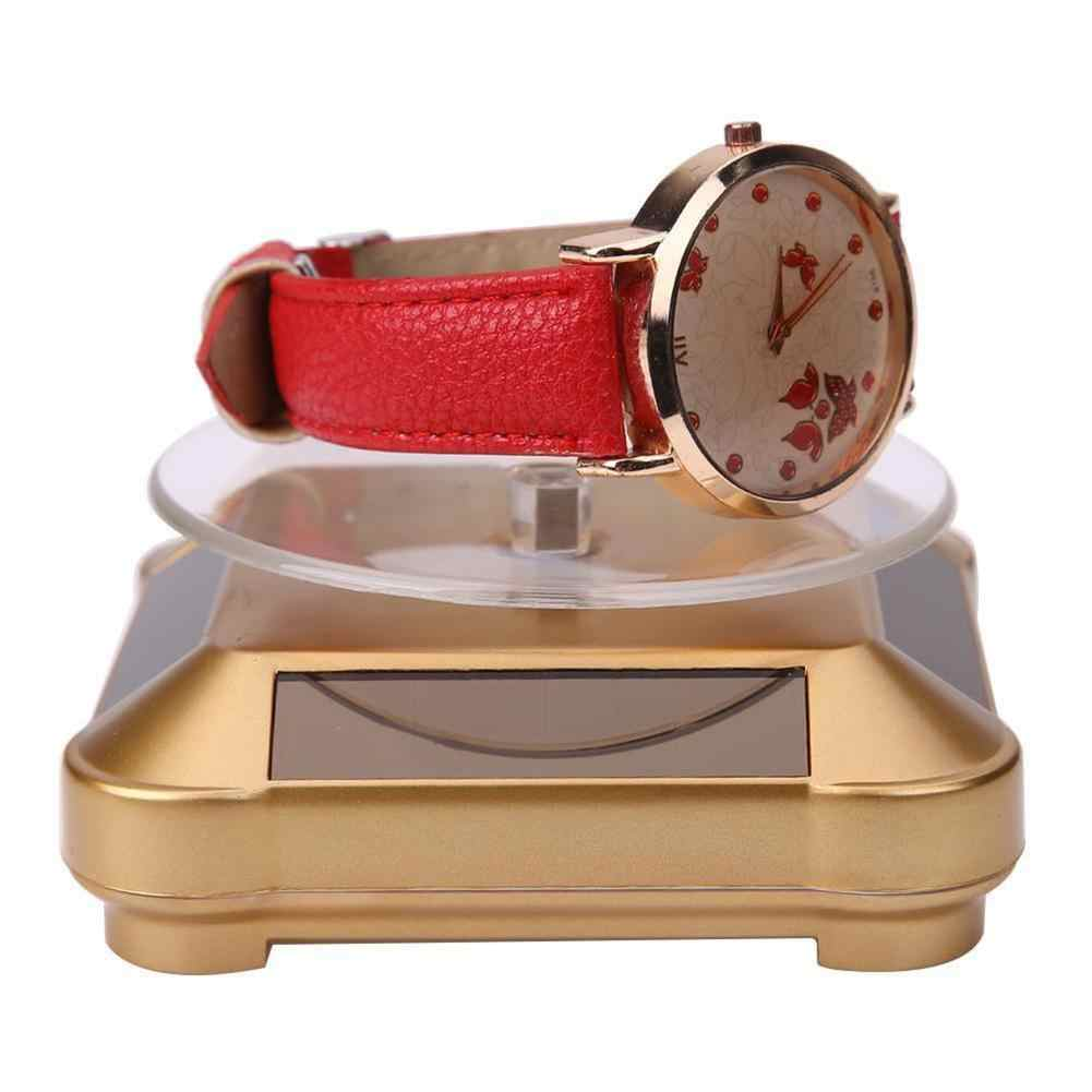 Jewelry Organizer Solar Power Rotating Phone Watch Jewelry Stand Display Holder Automatic Turning Table New