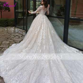 Gorgeous Appliques Chapel Train Lace A-Line Wedding Dresses 2020 Sexy Scoop Neck Long Sleeve Vintage Bride Gown Vestido de Noiva