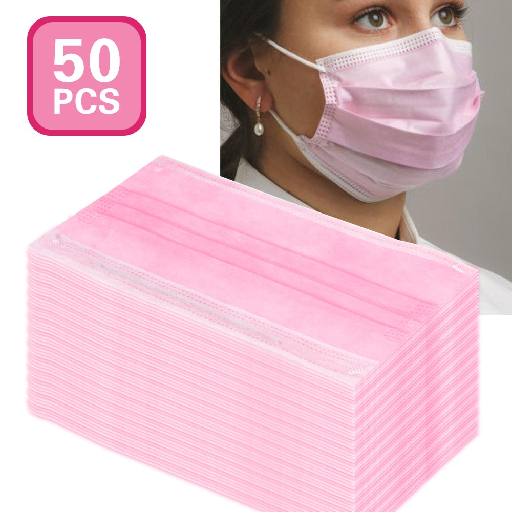 50PCS/Pack Anti-dust Windproof Face Masks With Elastic Ear Loop Disposable 3 Ply  Eyelash Extensions Non-woven Fabric Masks Dust