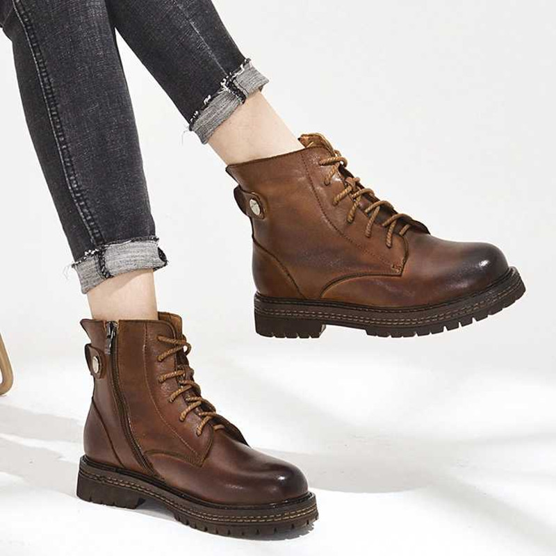 AIYUQI Martin boots women 2019 new genuine leather ankle boots women cow leather women 39 s short boots shoes in Ankle Boots from Shoes