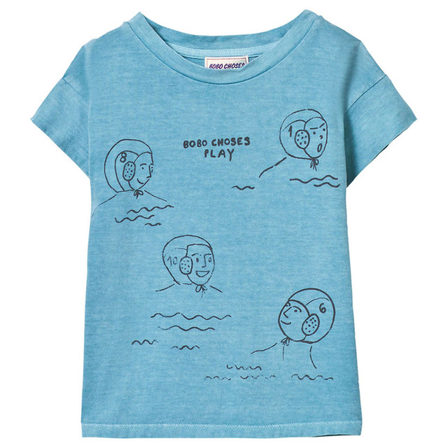 58de328d3 Bobo Choses 2017 New Arrivals Brand Kids Graphic Tees Waterpolo T-Shirt  Turquoise Blue Summer Style High Quality 1-8 Years