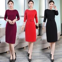 P Ammy 2019 spring new Korean version long sleev dress women fashion solid color dress With belt plus size M~3XL