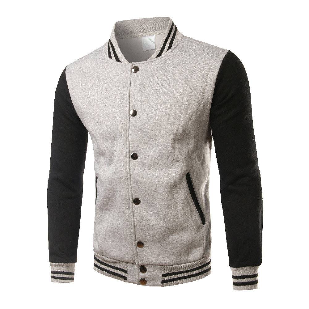 New Gray Baseball Jacket Men 2016 Mens Fashion Slim Fit Fleece College Varsity Jackets For Fall