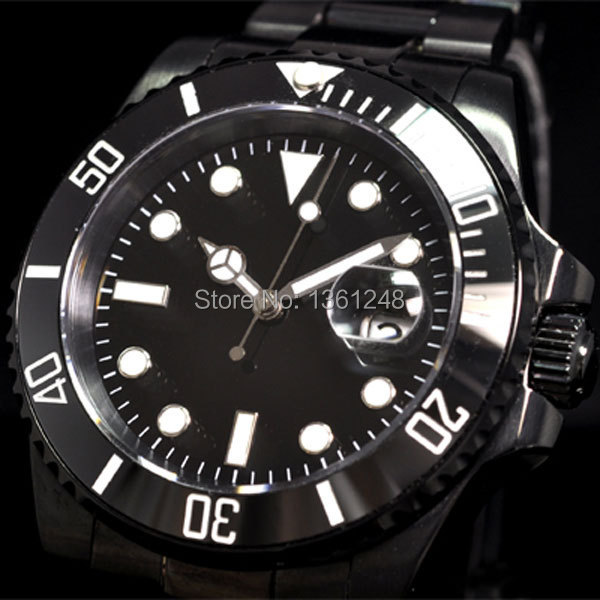 40mm parnis PVD Ceramic Bezel luminous sapphire glass automatic movement mens watch 067 40mm parnis black dial ceramic bezel pvd case luminous vintage sapphire automatic movement mens watch p145