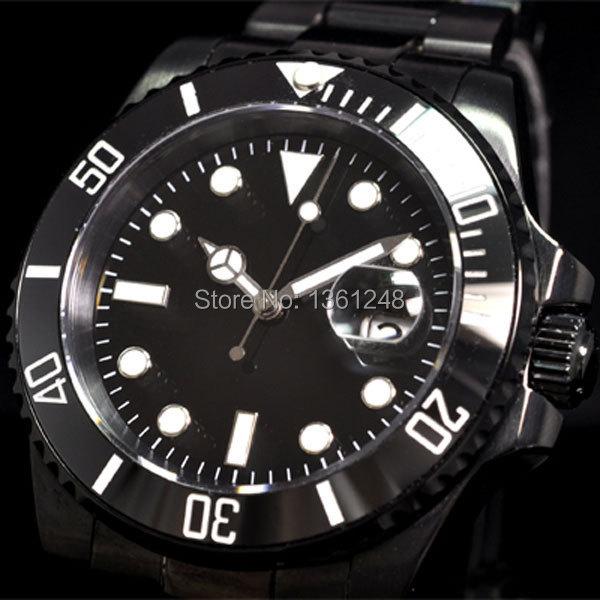 40mm parnis PVD Ceramic Bezel luminous sapphire glass automatic movement mens watch 067 цена и фото